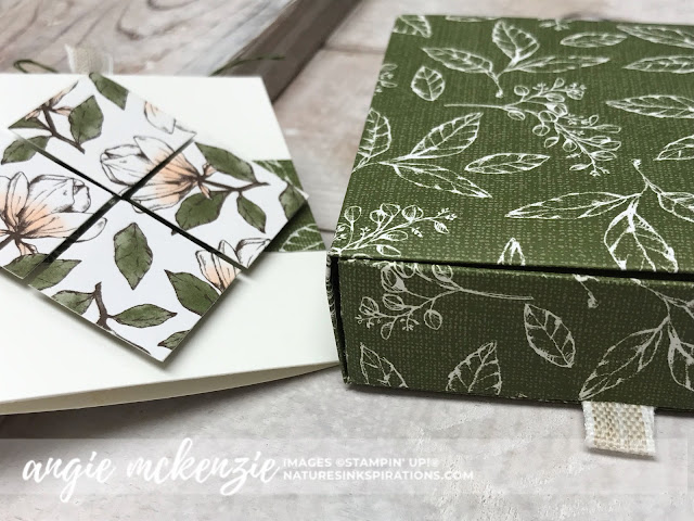 By Angie McKenzie for Stampin' Dreams Blog Hop; Click READ or VISIT to go to my blog for details! Featuring: my favorite Stampin' Up! Designer Series Paper (DSP), Magnolia Lane DSP, Detailed Trio Punch; #stampinupdsp  #magnolialanedsp #cardtechniques #bloghops #3dprojects #minicardbox #magnolialaneribboncombo