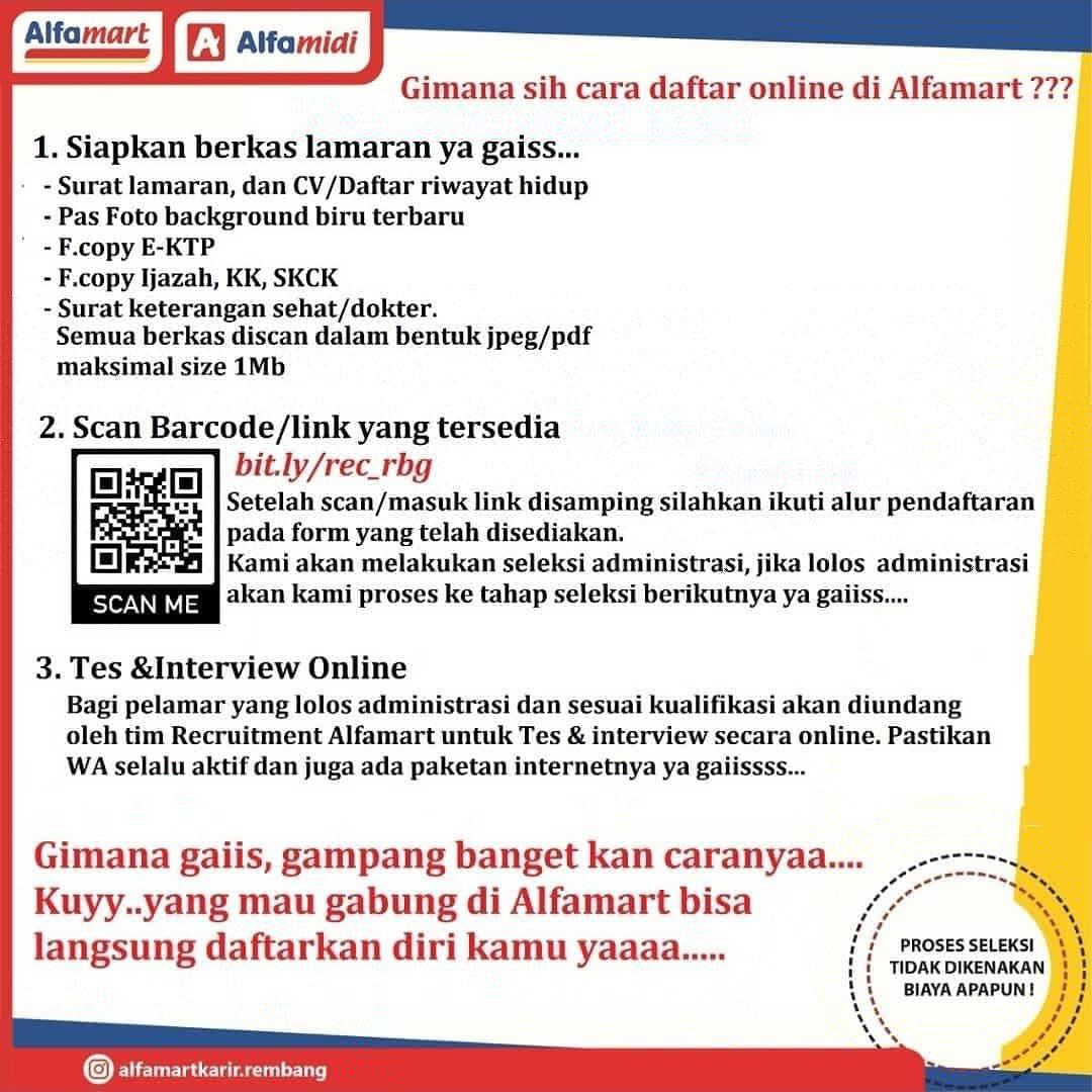 Lowongan Kerja Helper Sales Motoris Crew Store Alfamart Rembang Daftar Online