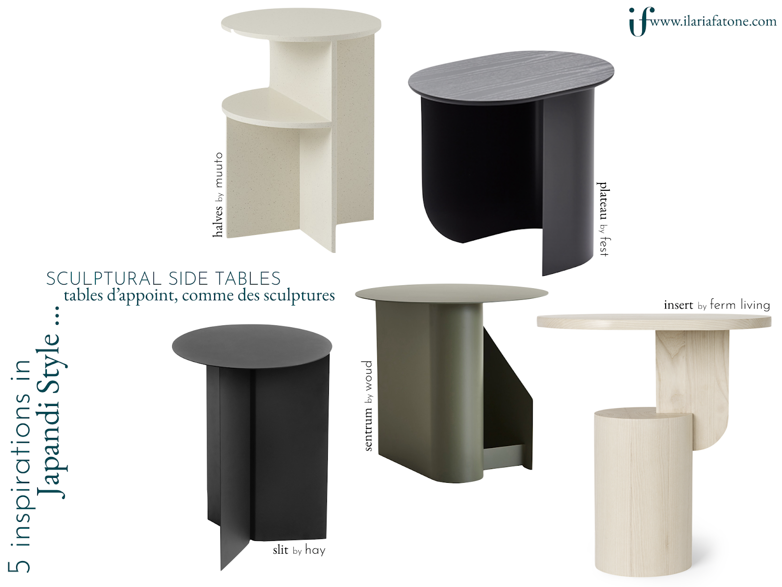 ilaria fatone - 5 japandi sculptural side tables