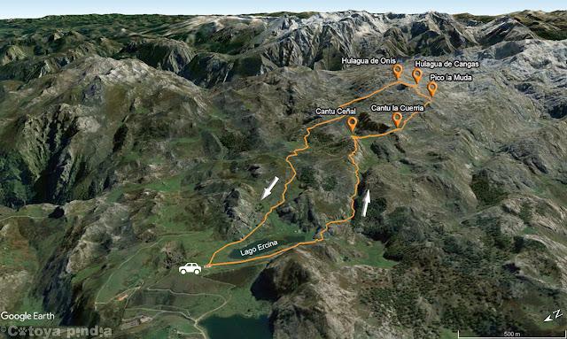 Mapa con la ruta al Cantu Ceñal, la Cuerria, la Muda y los dos Hulaguas desde el Lago Ercina, en Picos de Europa.