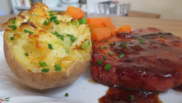 Glazed Bacon Chops with Champ Stuffed Potatoes