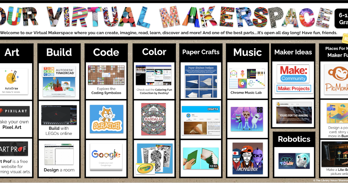 The Library Voice: Our Virtual Makerspace For Middle & High School Students  Is Open & Ready For Lots Of Making Fun!