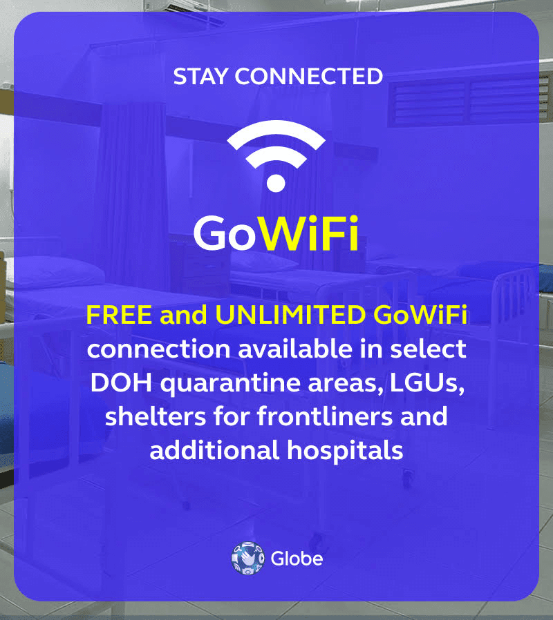 To continue supporting the frontliners by keeping them connected, Globe has extended its FREE unlimited WiFi service to more LGUs and hospitals nationwide.