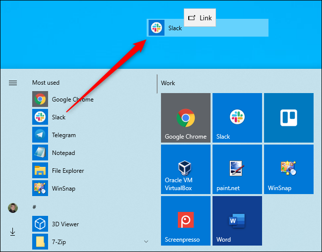 إنشاء اختصار لسطح المكتب من قائمة ابدأ الخاصة بنظام التشغيل Windows 10