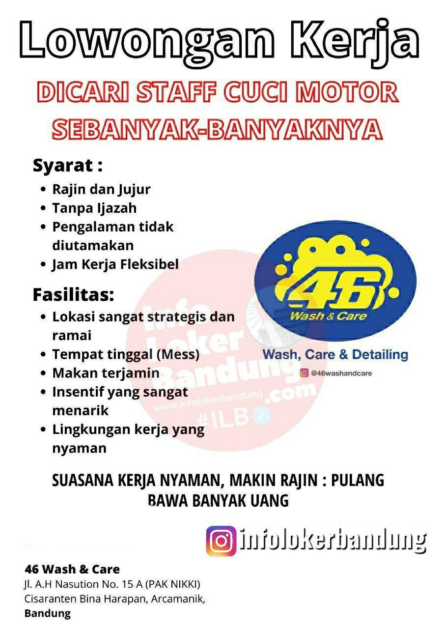 Lowongan Kerja Staff Cuci Motor 46 Wash & Care Arcamanik Bandung Agustus 2020