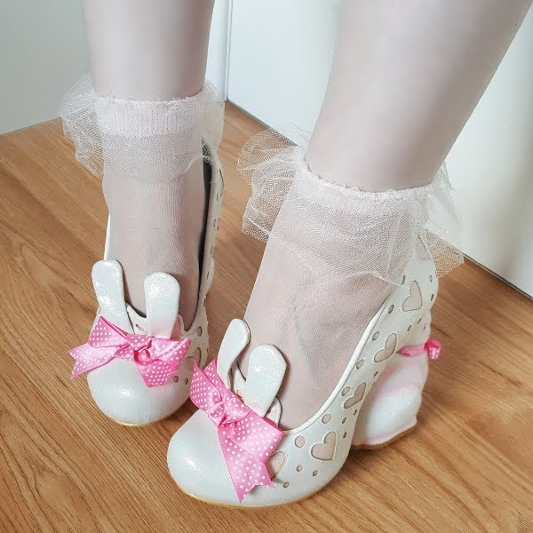 bunny eared court shoes being worn with organza frill socks