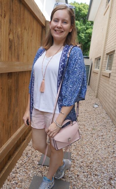 blush pink shorts white tee navy kimono Cotton On Alana Wanderlust kimono in floral mood indigo mum outfit | awayfromblue