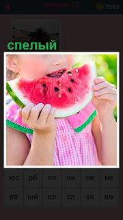 девочка в руках держит отрезанный ломтик спелого арбуза