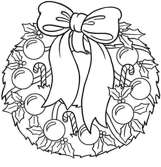 Tranh tô màu vòng hoa noel