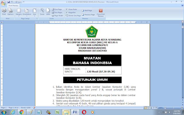 Soal Ujian Madrasah Mapel Bahasa Indonesia Kelas 6 MI