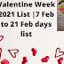 Valentine Week 2021 List |7 Feb to 21 Feb days list