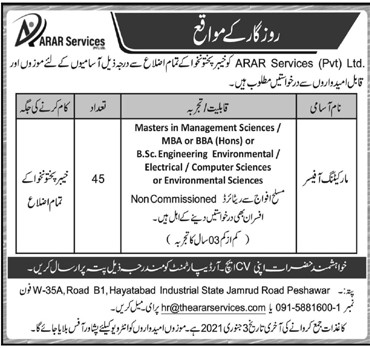 ARAR Services Private Limited Latest Jobs For Marketing Officer Vacancies in Pakistan