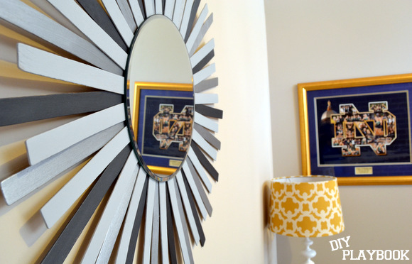 DIY Sunburst Mirror with paint sticks in silver