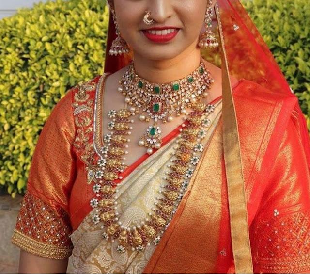 Bride in Lakshmi Mango Haram Choker
