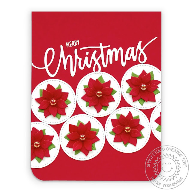 Sunny Studio Merry Christmas CAS Poinsettia Handmade Holiday Card with Stitched Circles (using Window Quad Circle Dies, Christmas Garland Frame Dies & Merry Mice Stamps)