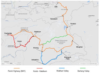pamir highway m41 map and route options.. Wakhan Bartang Valley - here is an overview