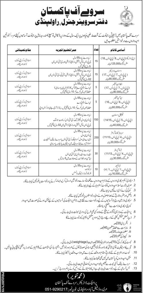 Jobs in Office of Surveyor General Rawalpindi 2019