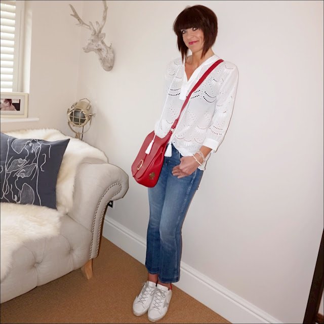 My Midlife Fashion, monsoon ivy schiffli blouse, j crew jane cropped kick flare jeans, golden goose superstar low top leather trainers, village england sway cross body bag