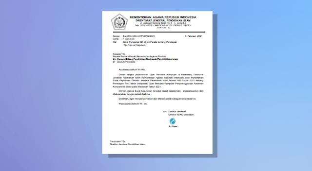 Penetapan Tim Teknis (Helpdesk) UBK Asesmen Kompetensi Siswa pada Madrasah Tahun 2021
