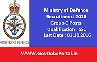 Ministry of Defence Recruitment 2016 for Various Group-C Posts Apply Here