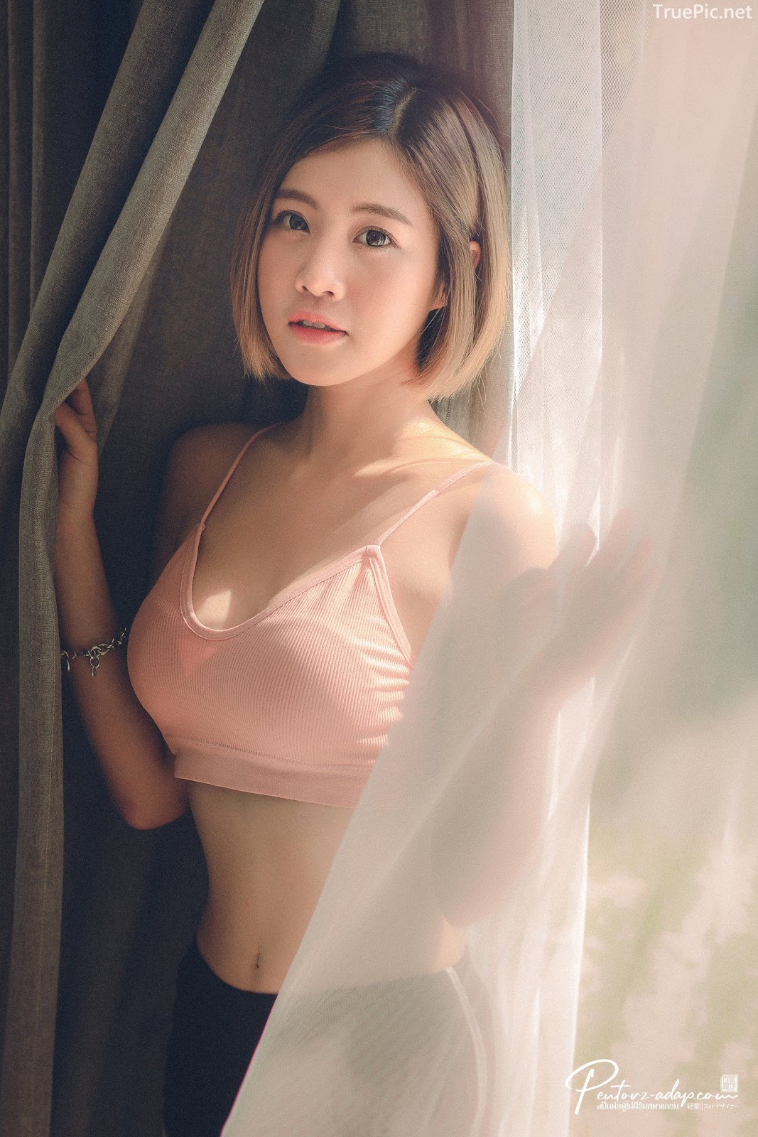 Thailand Cute Model - Fah Chatchaya Suthisuwan - Pink Lovely Fitness Sports Bra - TruePic.net - Picture 2