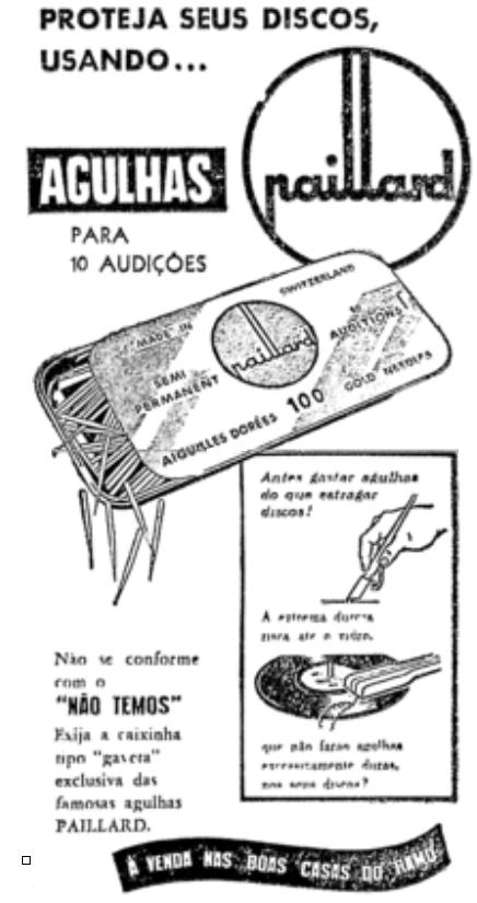 Propaganda antiga dos anos 50 de agulhas para proteção de discos