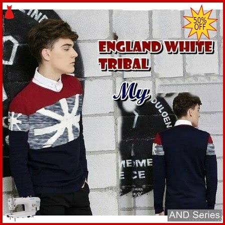 AND426 Sweater Pria England Putih Tribal BMGShop