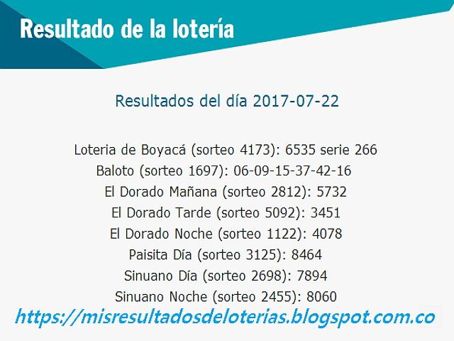 Como jugo la lotería anoche - Resultados diarios de la lotería y el chance - resultados del dia 22-07-2017