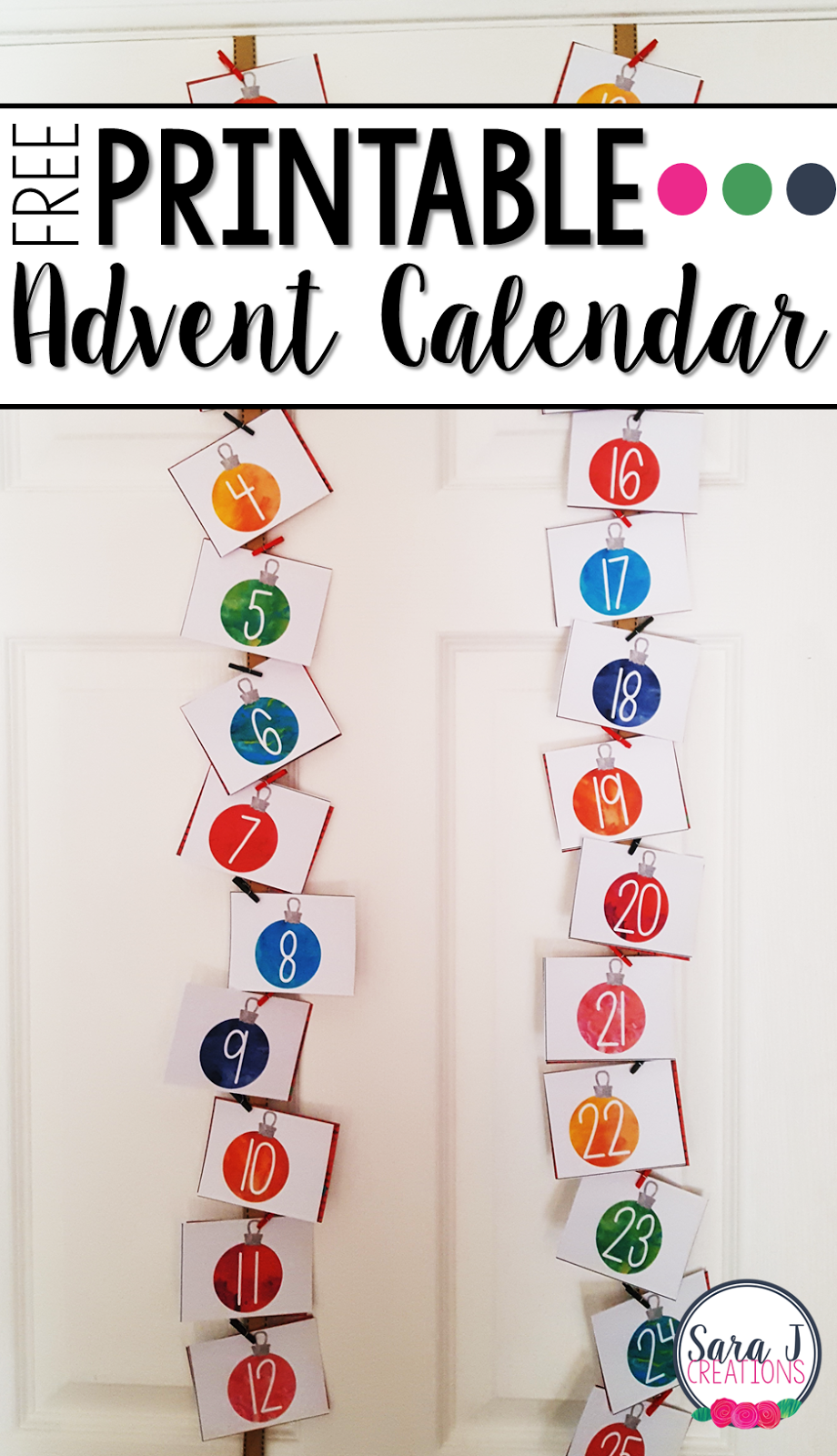 photograph regarding Advent Calendar Printable named Cost-free Printable Arrival Calendar Sara J Creations