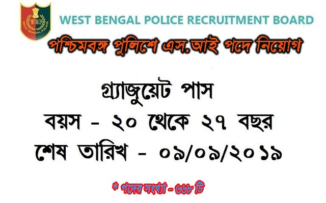 Recruitment to the Post of Sub-Inspector  in West Bengal Police - 2019