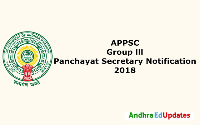 APPSC Group 3 Panchayat Secretary Notification 2018