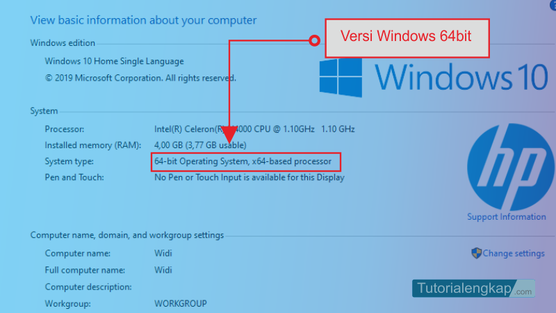 tutorialengkap 4 Cara Cek Type Windows , Apakah 32bit atau Windows 64bit pada laptop