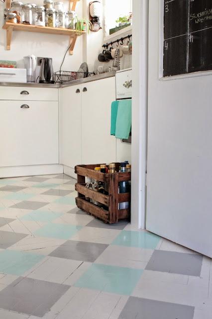 drewniana podłoga, drewniana podłoga w kuchni, parkiet, malowany parkiet, biała podłoga
