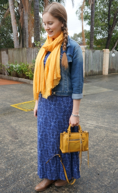 casual maxi dress outfit with mustard yellow accessories denim jacket for kids birthday party | away from blue