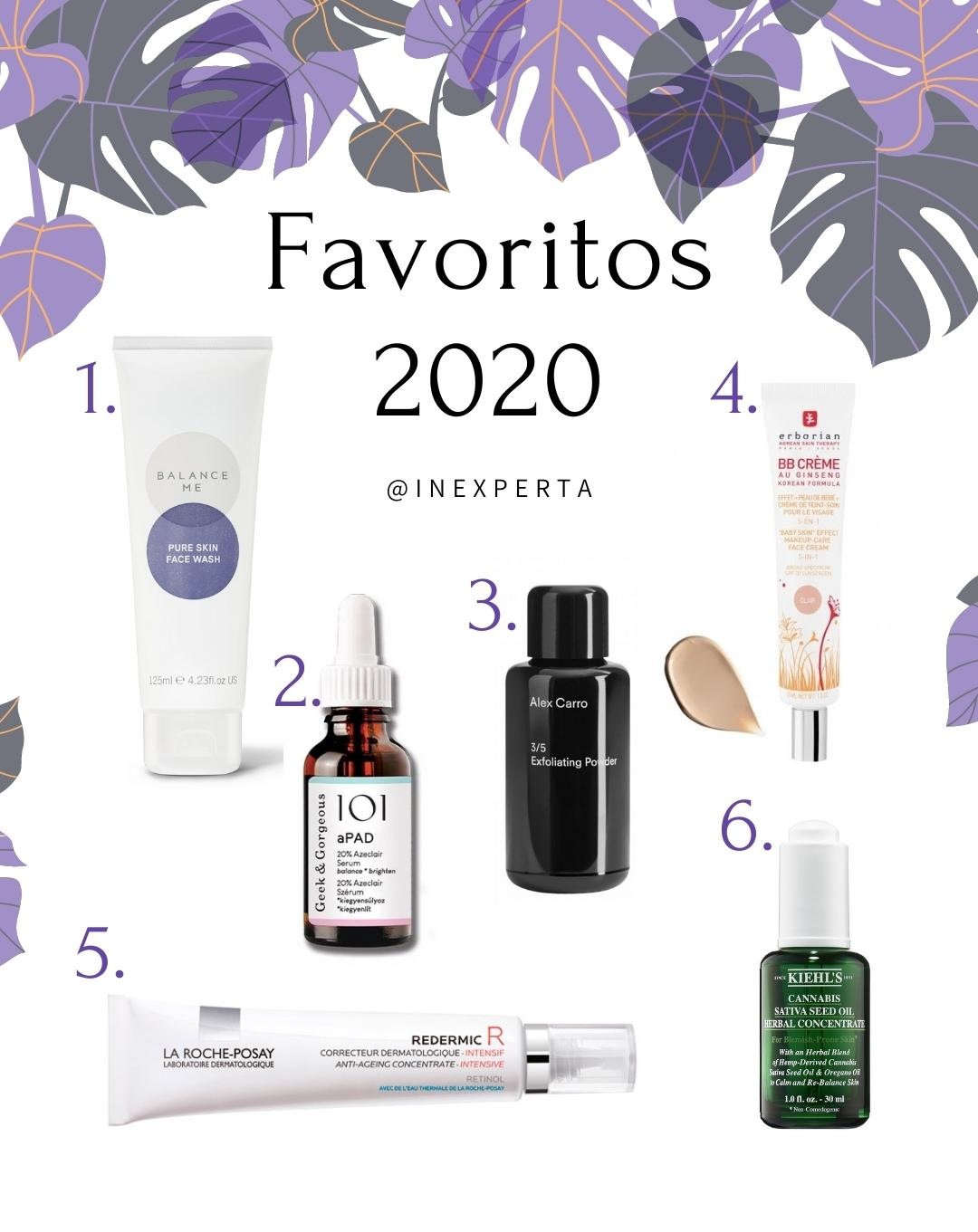 Productos favoritos skincare cuidado facial 2020 inexperta