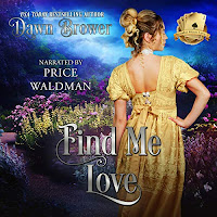 Find Me Love audiobook cover. A woman in a jonquil gown faces away from the viewer in a beautiful garden.