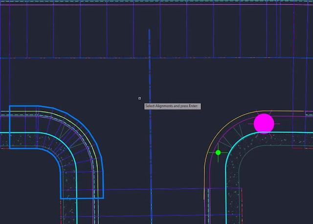 Select alignment in Civil 3D