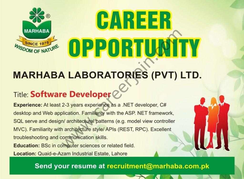 recruitment@marhaba.com.pk - Marhaba Laboratories Pvt Ltd Latest Jobs 2021 For Software Developer