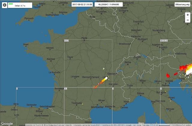 Carte de France impacts de foudre