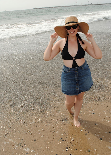 style, Samantha Chic, Forever 21, floppy hat, straw hat, wayfarer sunglasses, ray-ban, LC Lauren Conrad, Lauren Conrad, beach, California, ZARA, a-line skirt, denim skirt, poncho, cover-up, swimsuit