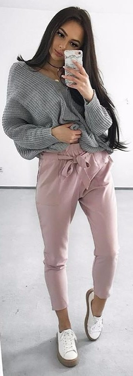 when it's cold outside: grey knit + blush high waist