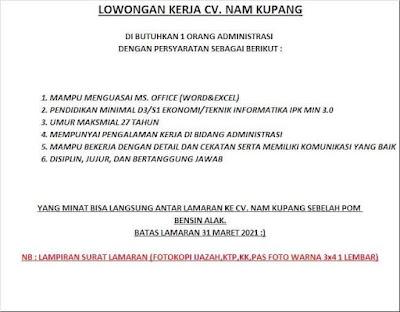 Lowongan Kerja CV NAM Kupang Sebagai Administrasi