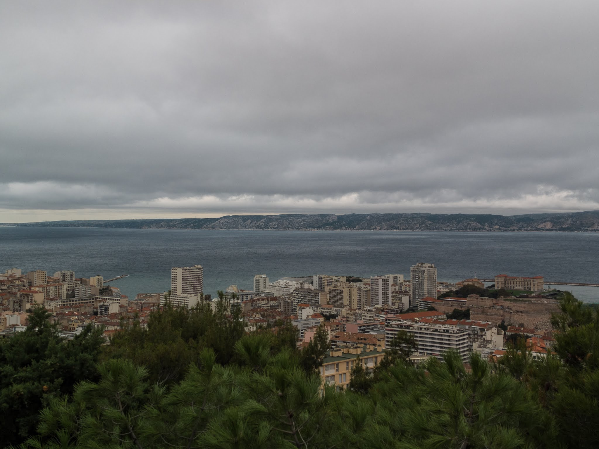 View of Marseille city and harbour from the Basilica of Notre Dame de la Garde.