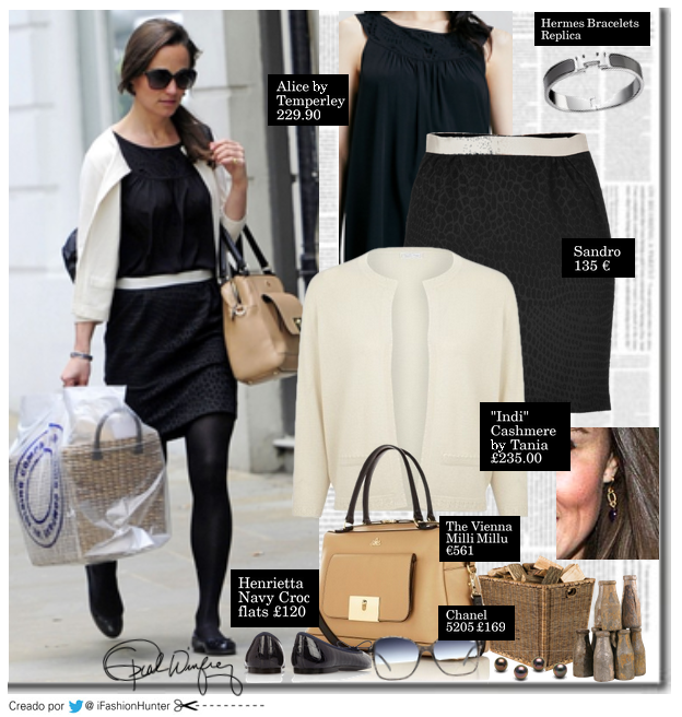 "PIPPA MIDDLETON LOOK  CARDIGAN: Indi, cashmere by Tania  £235.00    TOP: Alice by Temperley  £ 228.67   FALDA: Sandro   135 €   BALLET FLATS: Henrietta Navy Croc flats  £120  ANTEOJOS: Chanel 5205  188 €   BOLSO: ""The Vienna""  Milli Millu  £475"