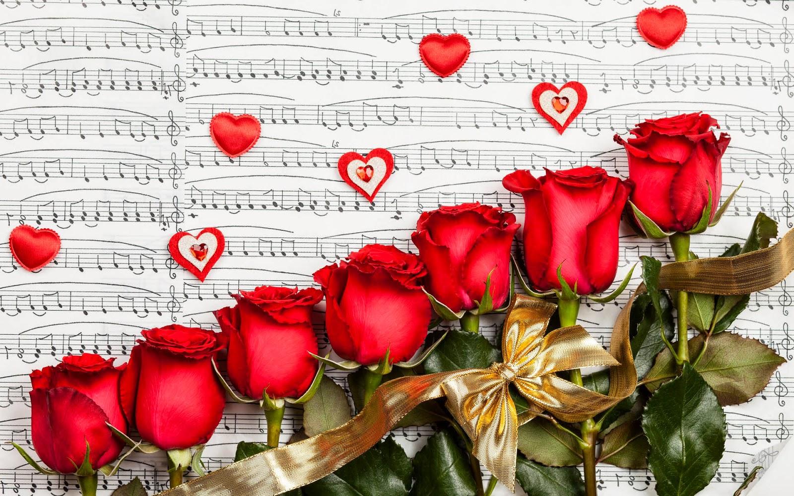 Afbeelding met bladmuziek, muzieknoten, rode rozen en liefdes hartjes