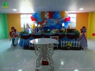 Decoração mesa de aniversário da Pequena Sereia - Festa infantil