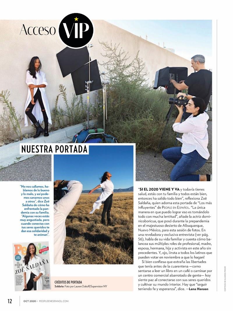 Zoe Saldana Featured in People en Espanol -October 2020
