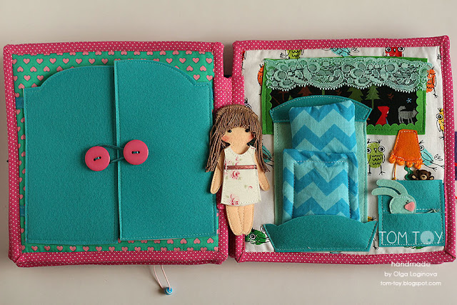 Quiet book for Olivia. Handmade busy cloth book for a girl, felt doll, dressing, bed