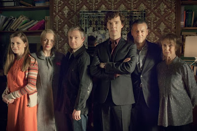 Benedict Cumberbatch, Martin Freeman, Amanda Abbington as Mary Morstan, Louise Brealey, Rupert Graves and Una Stubbs in Season 3 of BBC Sherlock