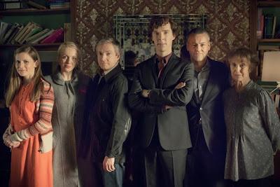 Benedict Cumberbatch, Martin Freeman, Amanda Abbington as Mary Morstan, Louise Brealey, Rupert Graves and Una Stubbs in Season 3 of BBC Sherlock